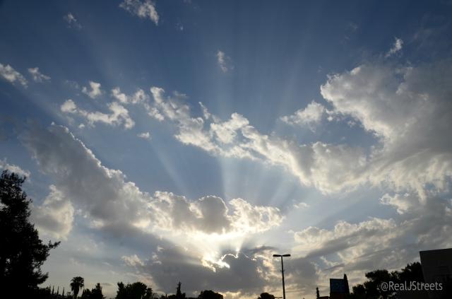 sunset Jerusalem sky blue rays showing