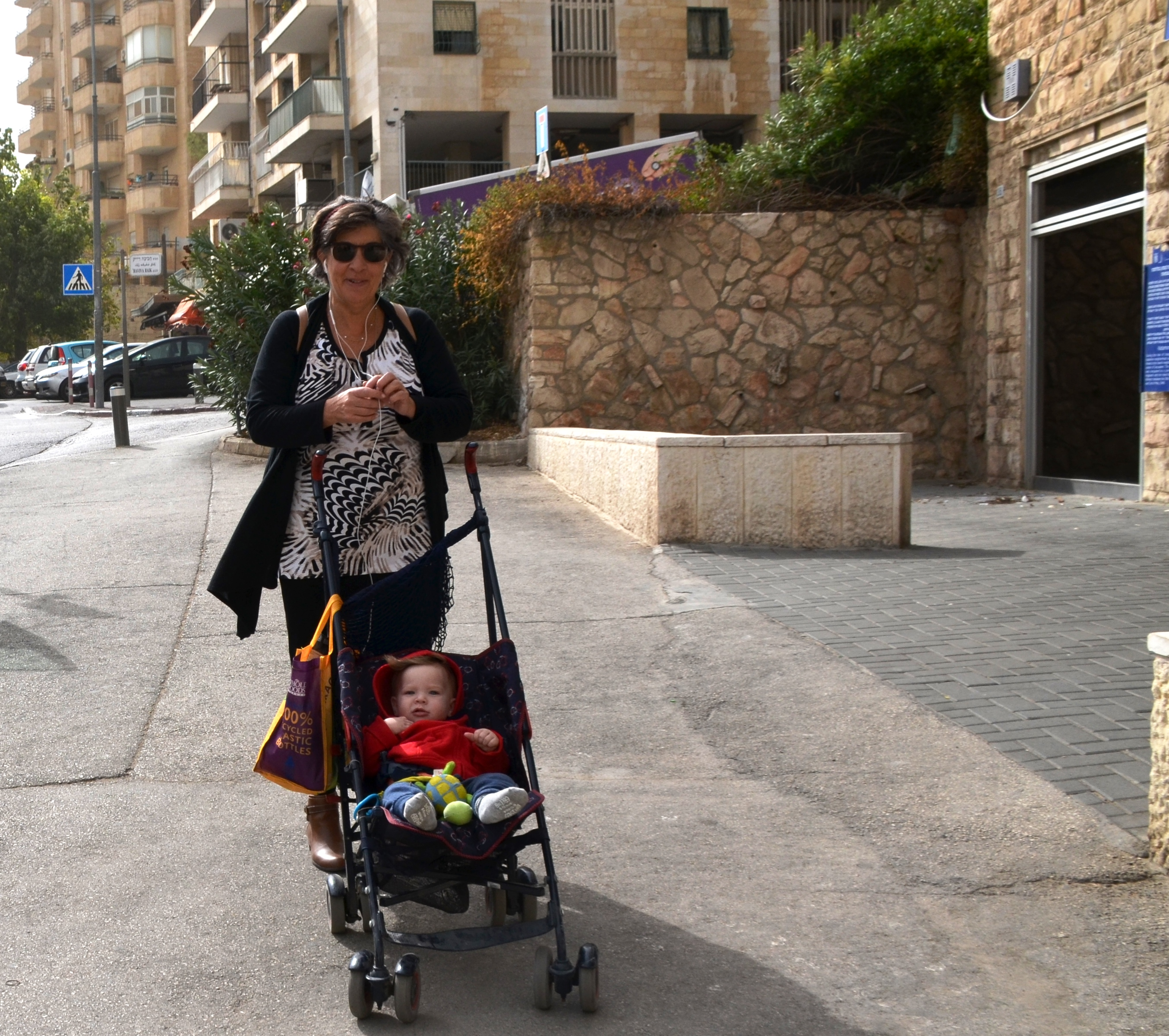 walking with stroller in Jerusalem