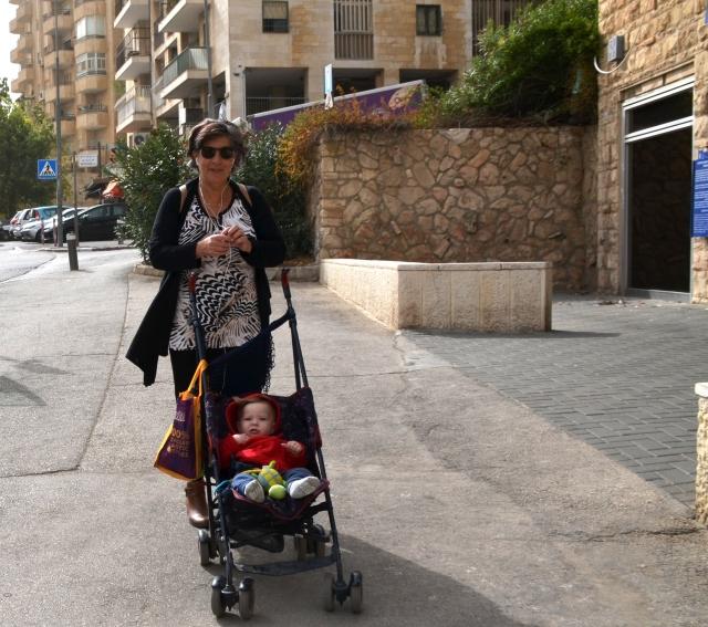 walking with stroller in Jerusalem
