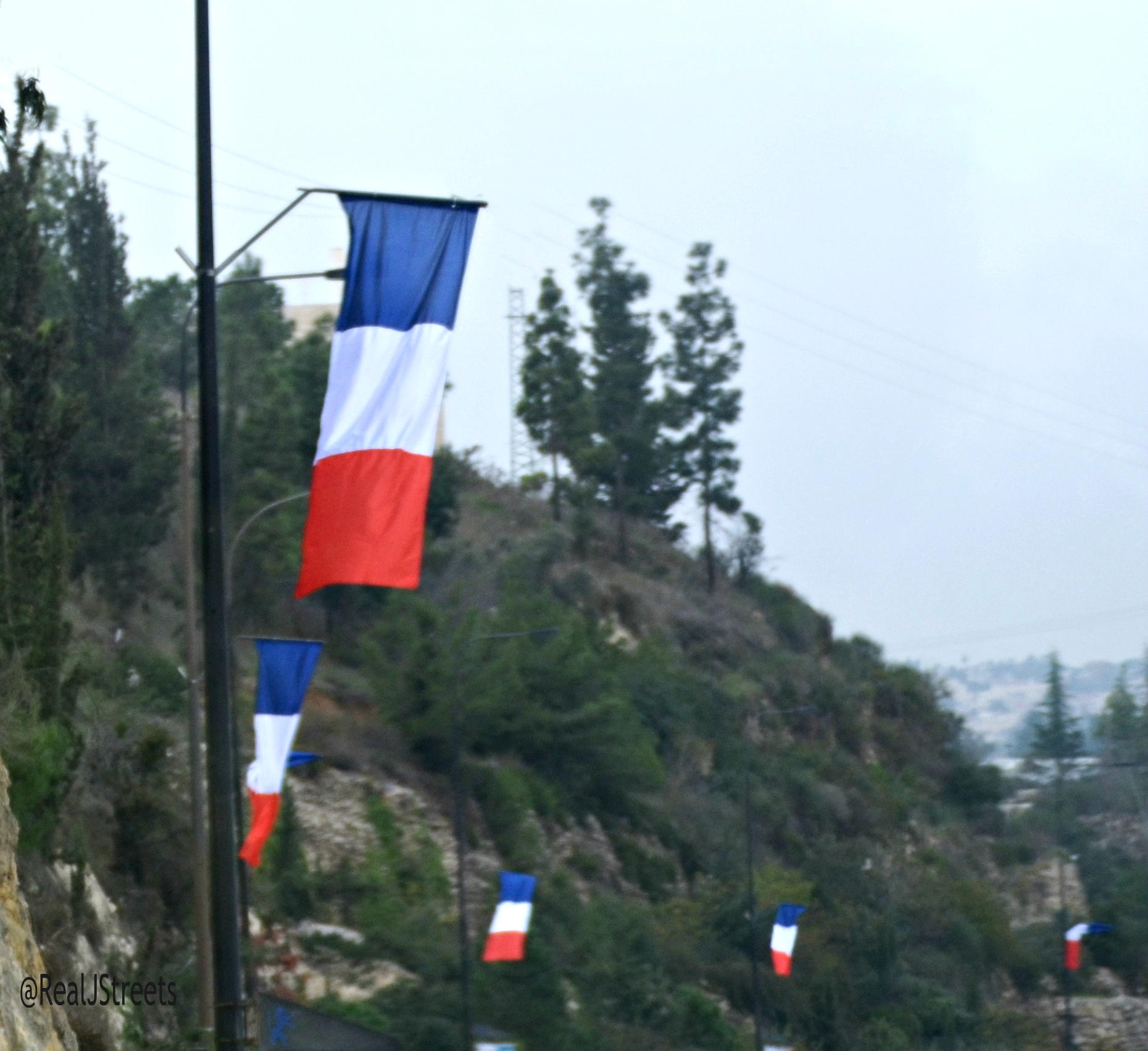French flags in Jerusalem