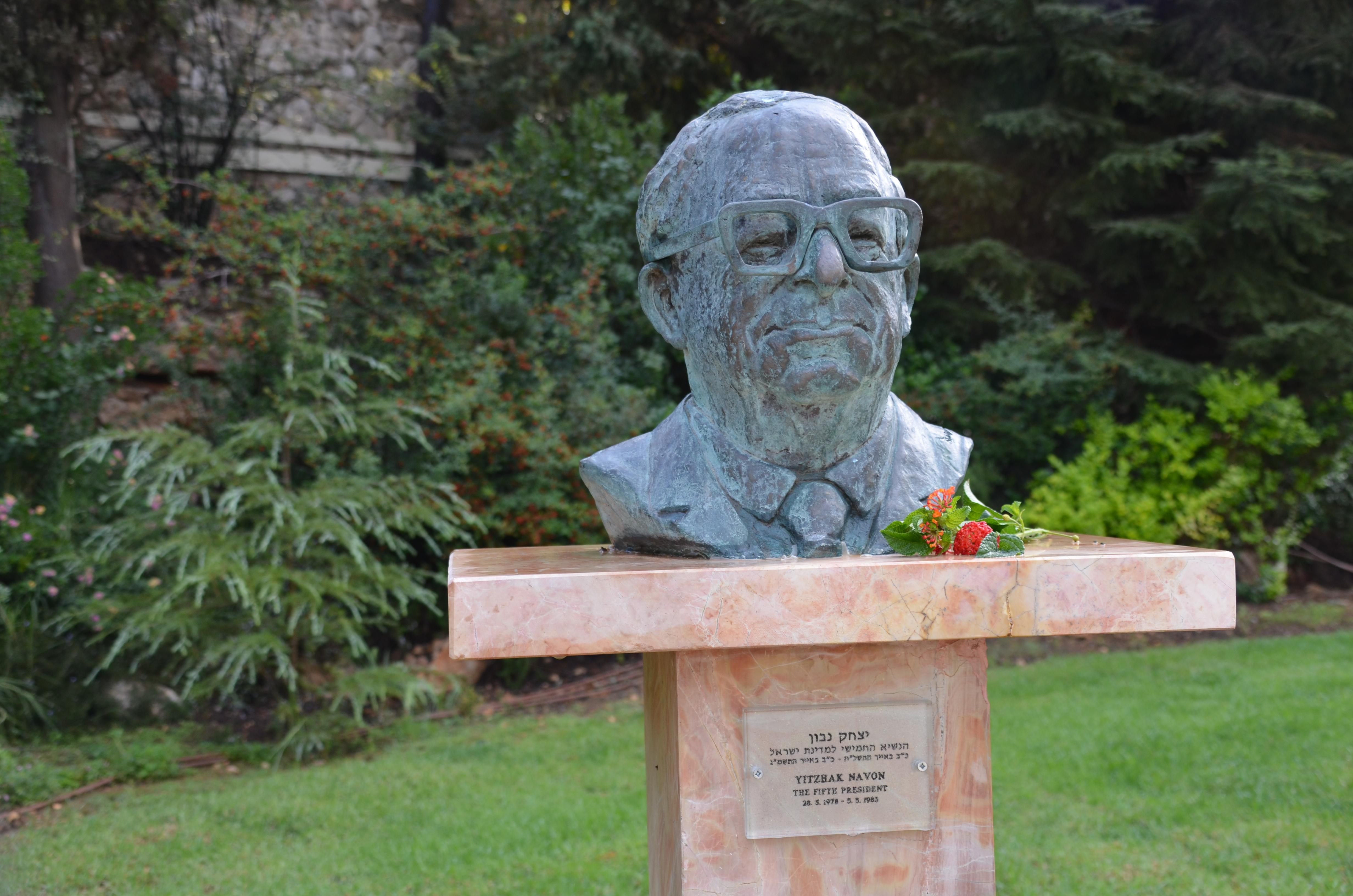 Yitzhak Navon statue at Beis Hanasi