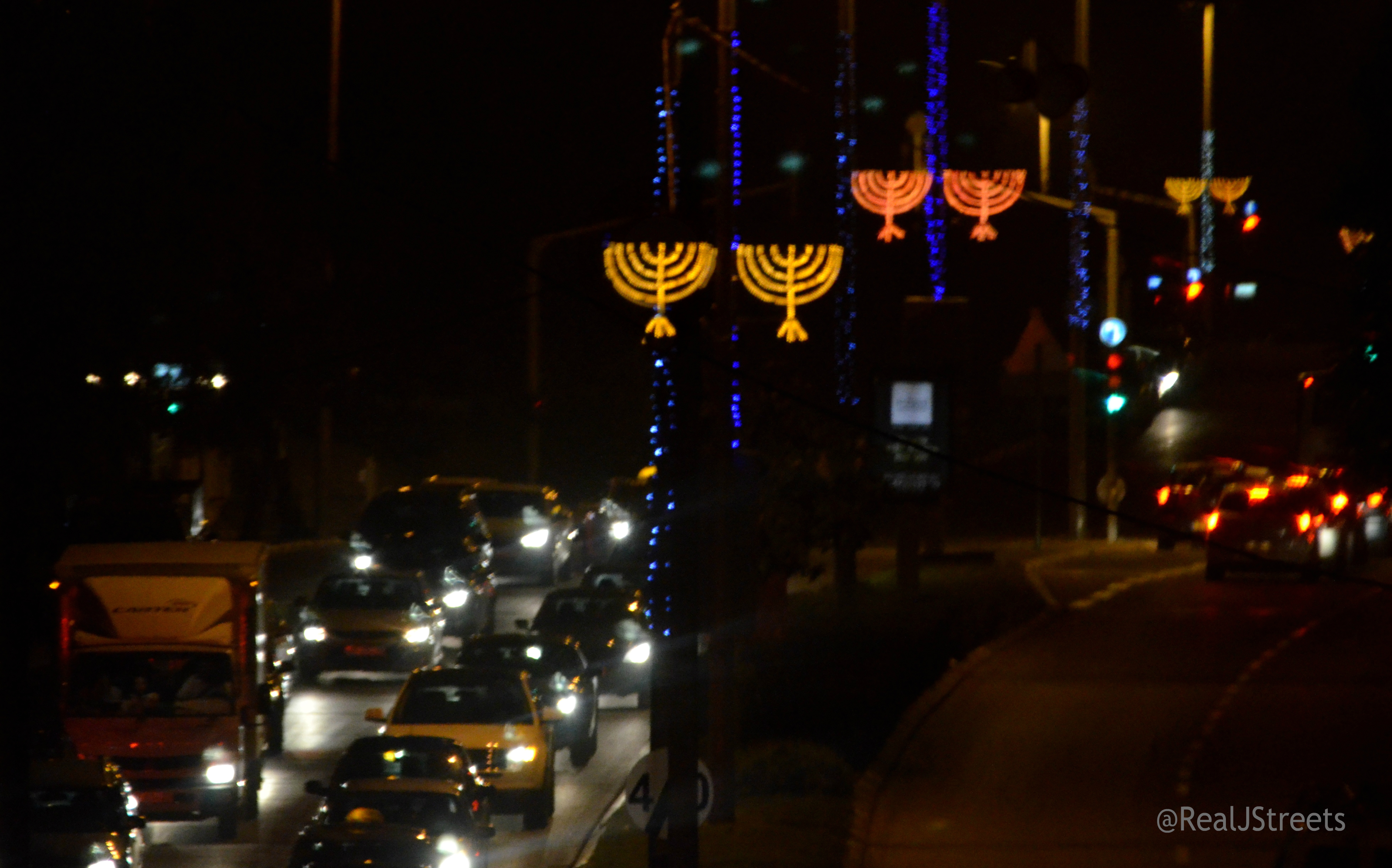 electric menorah as street decorations