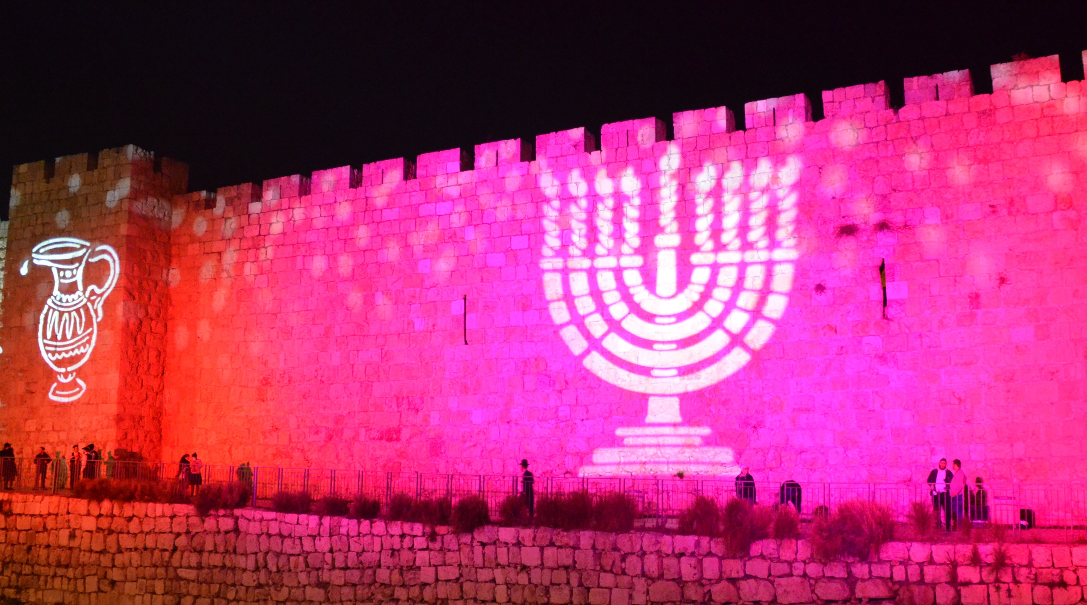 Jerusalem old city walls lit for hanukka