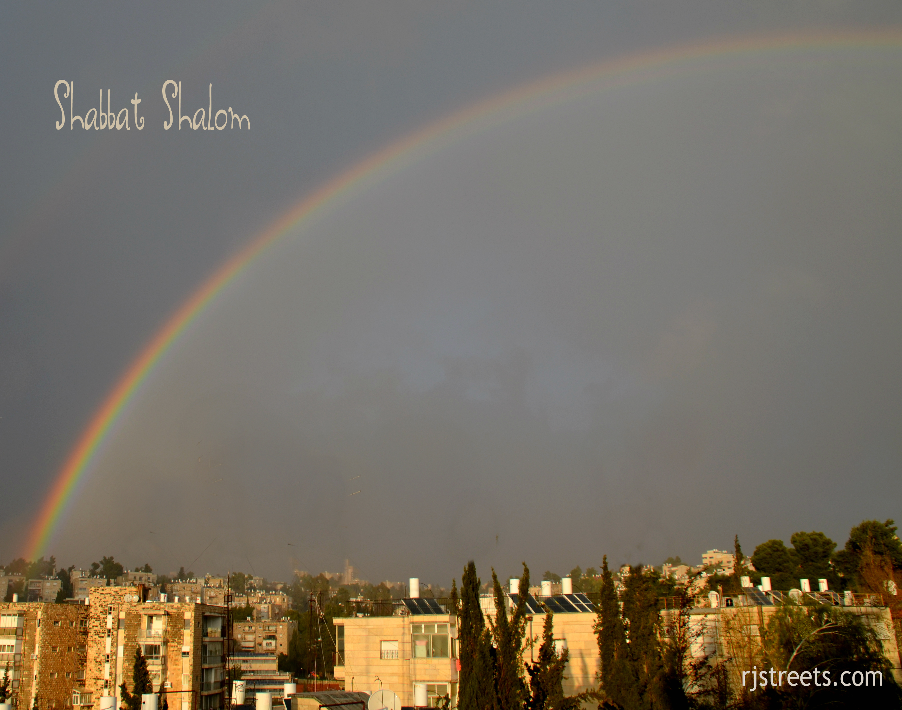 shabbos poster with rainbow
