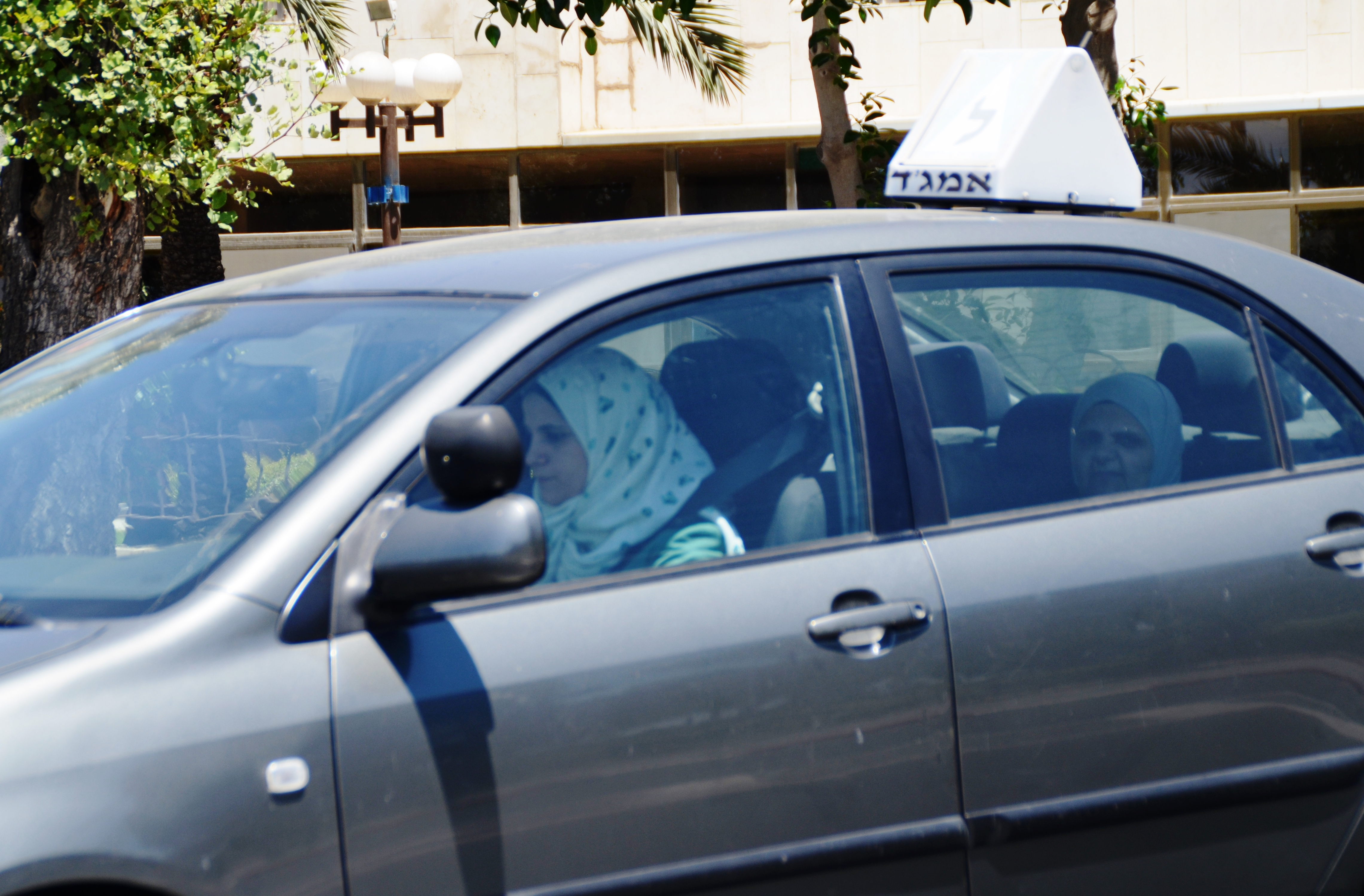 Arab girl driving a car