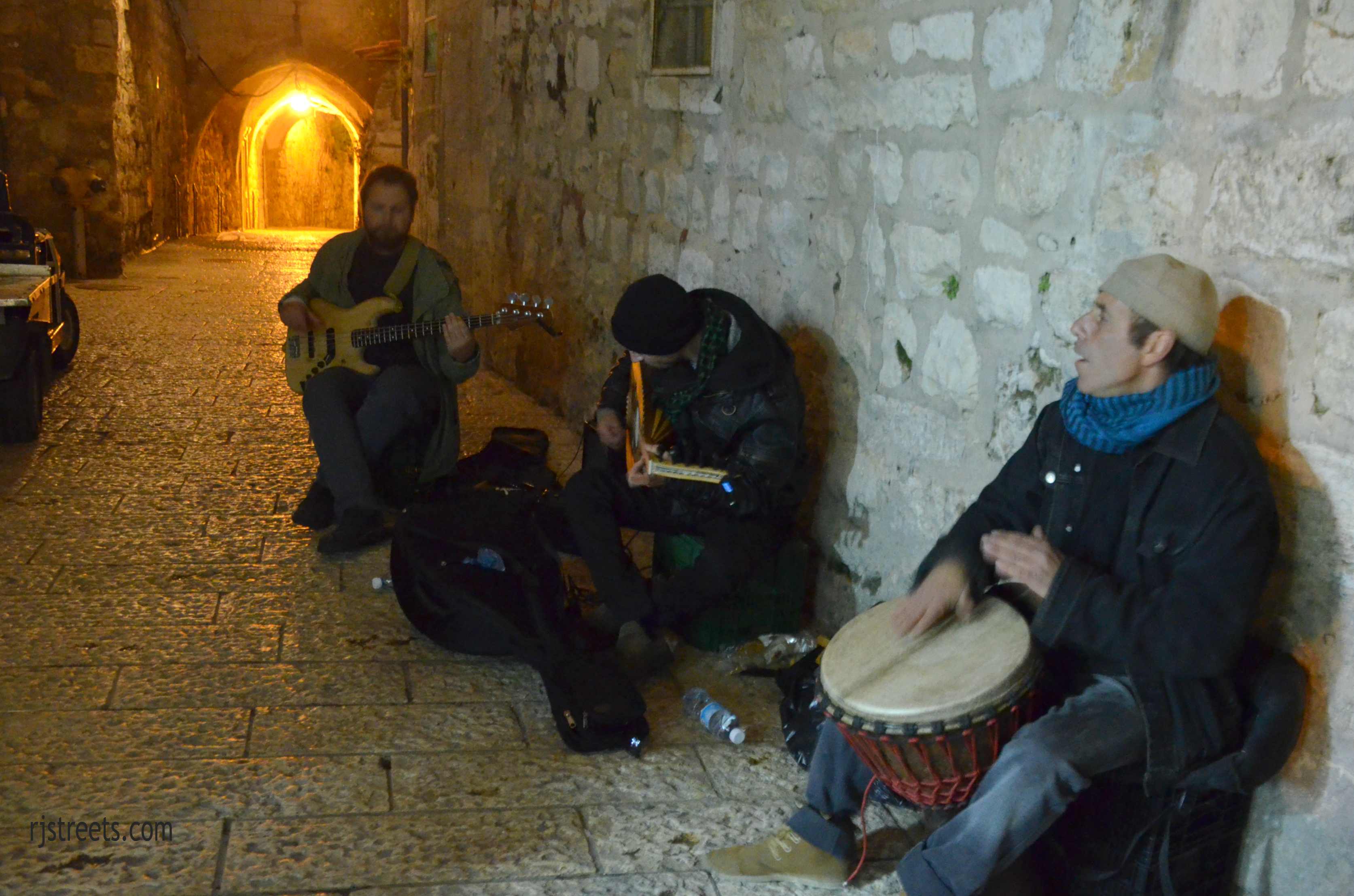 musicians on Jerusalem Old City street for Sounds of Old City Festival