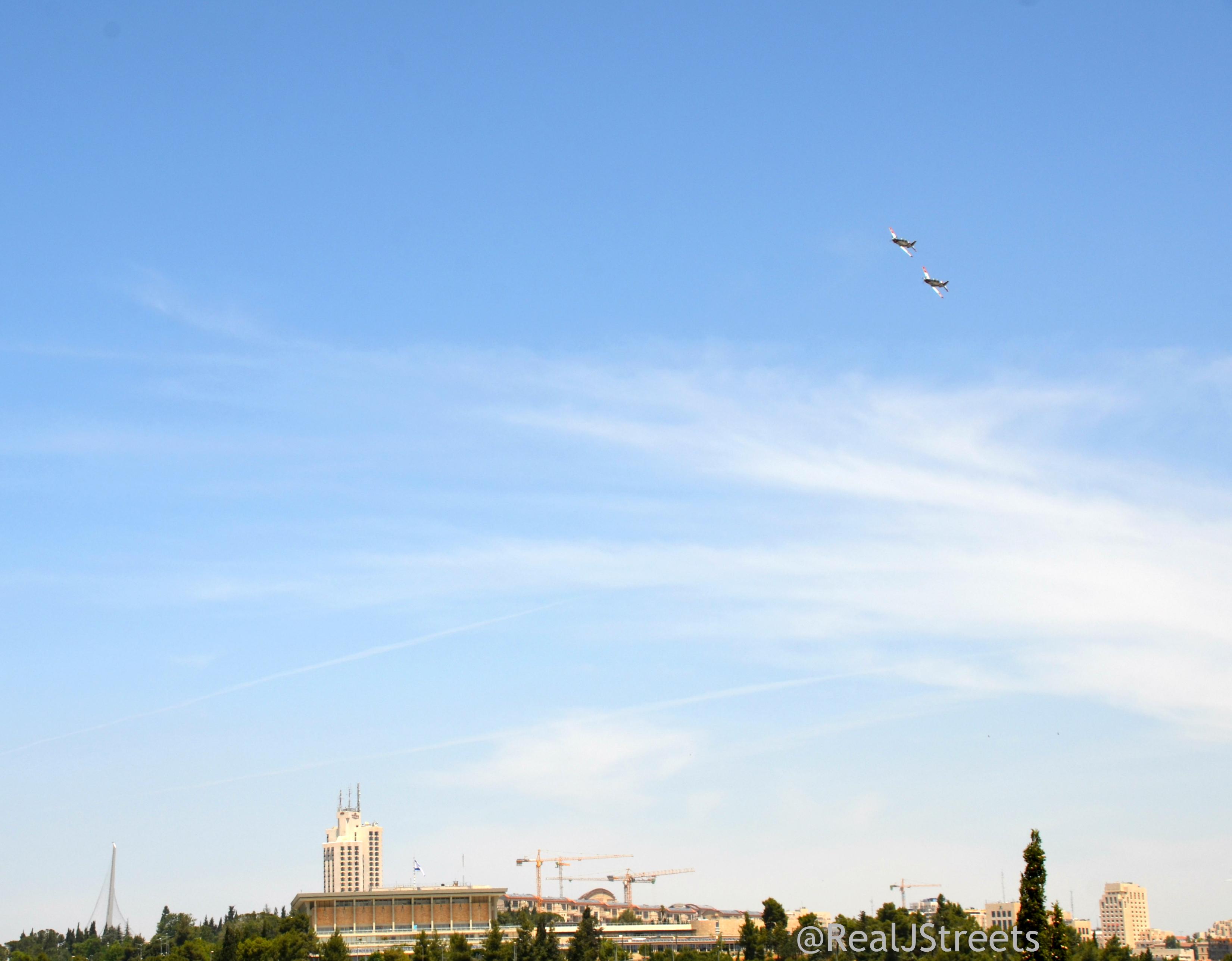 Planes flyover Jerusalem Israel for Yom Haatzmaut