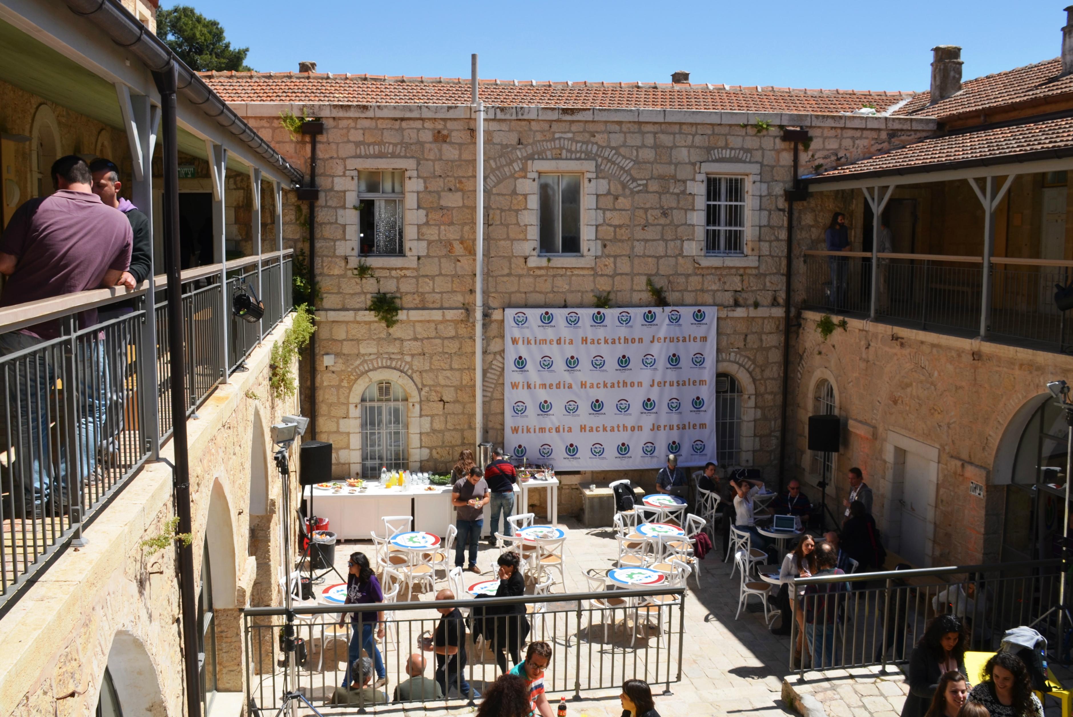 Hansen House courtyard Wikimedia Hackathon Jerusalem Israel