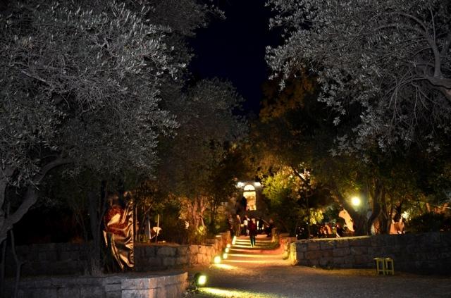Hansen House at night Jerusalem Design Week festival outside gardens lit