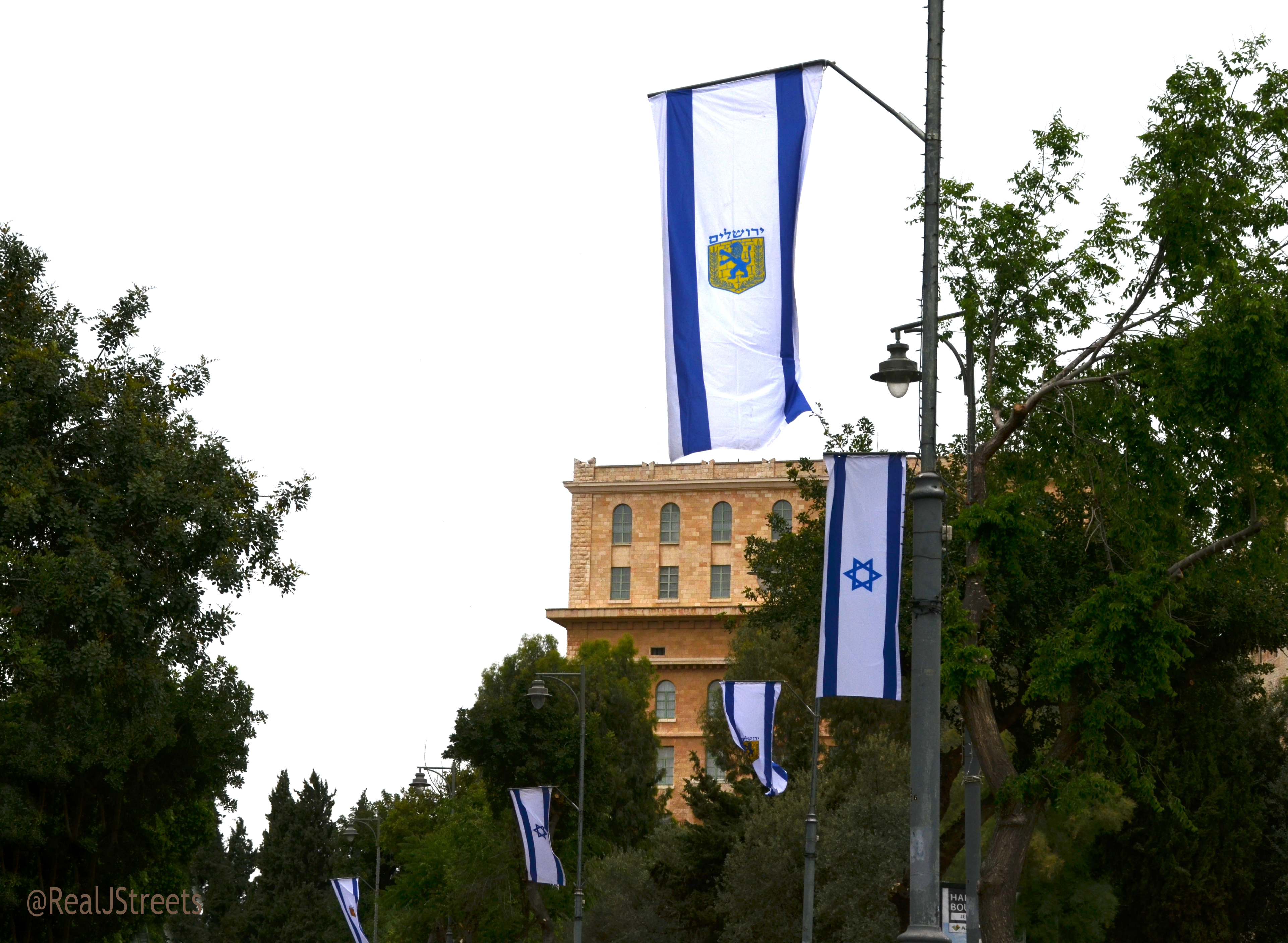 Israel flags lining Jerusalem streets for holiday