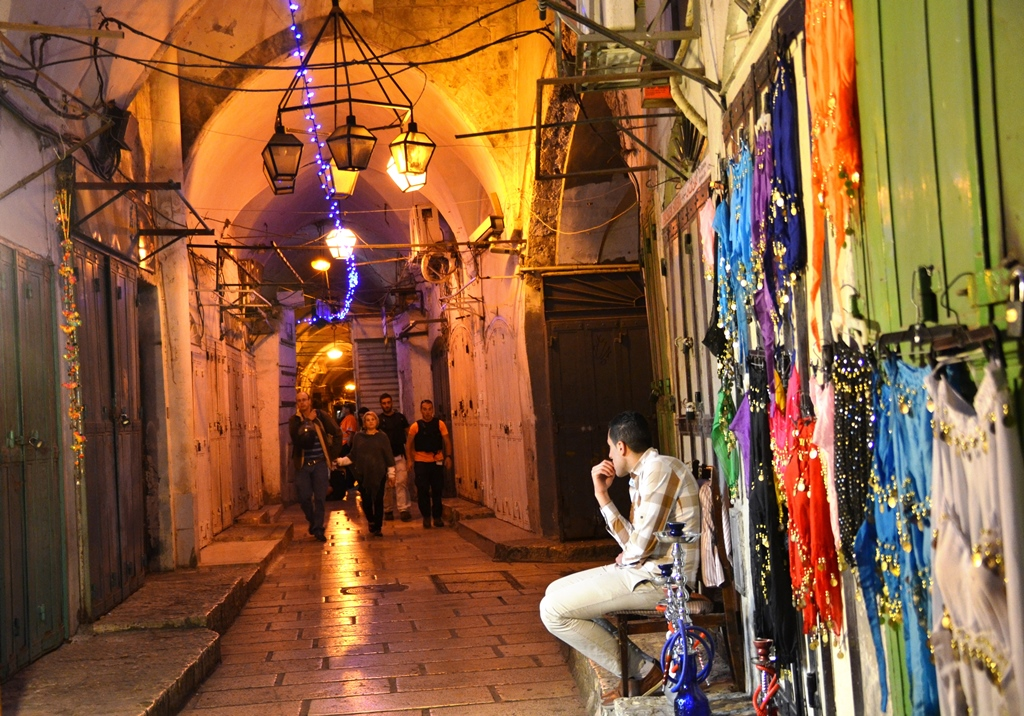 Jerusalem light festival old city Arab shuk night