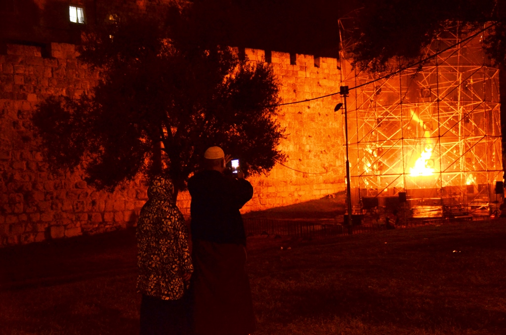 Jerusalem light festival firs large fire tornado