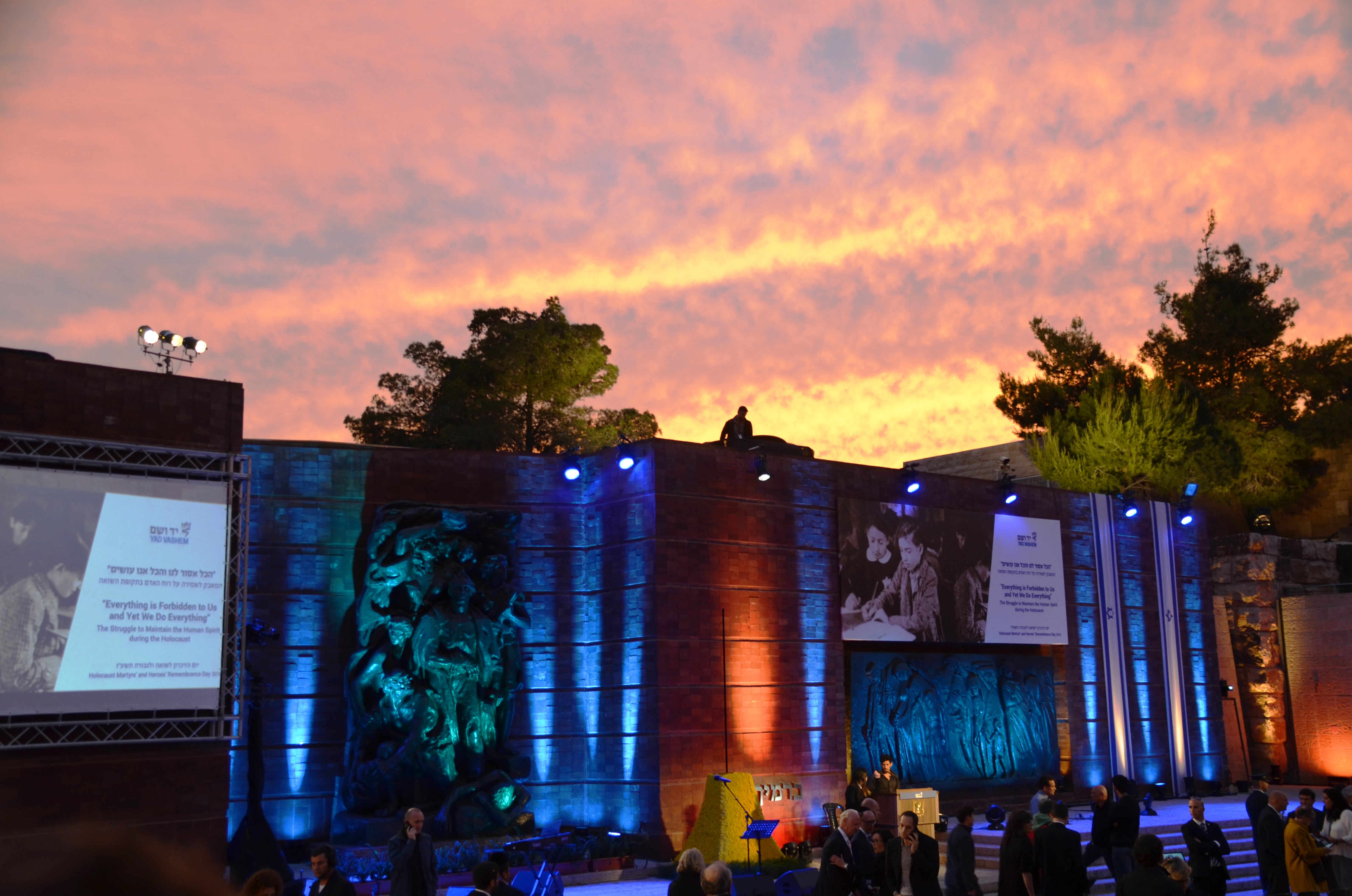 sunset sky at Yad Vashem for Holocaust memorial event