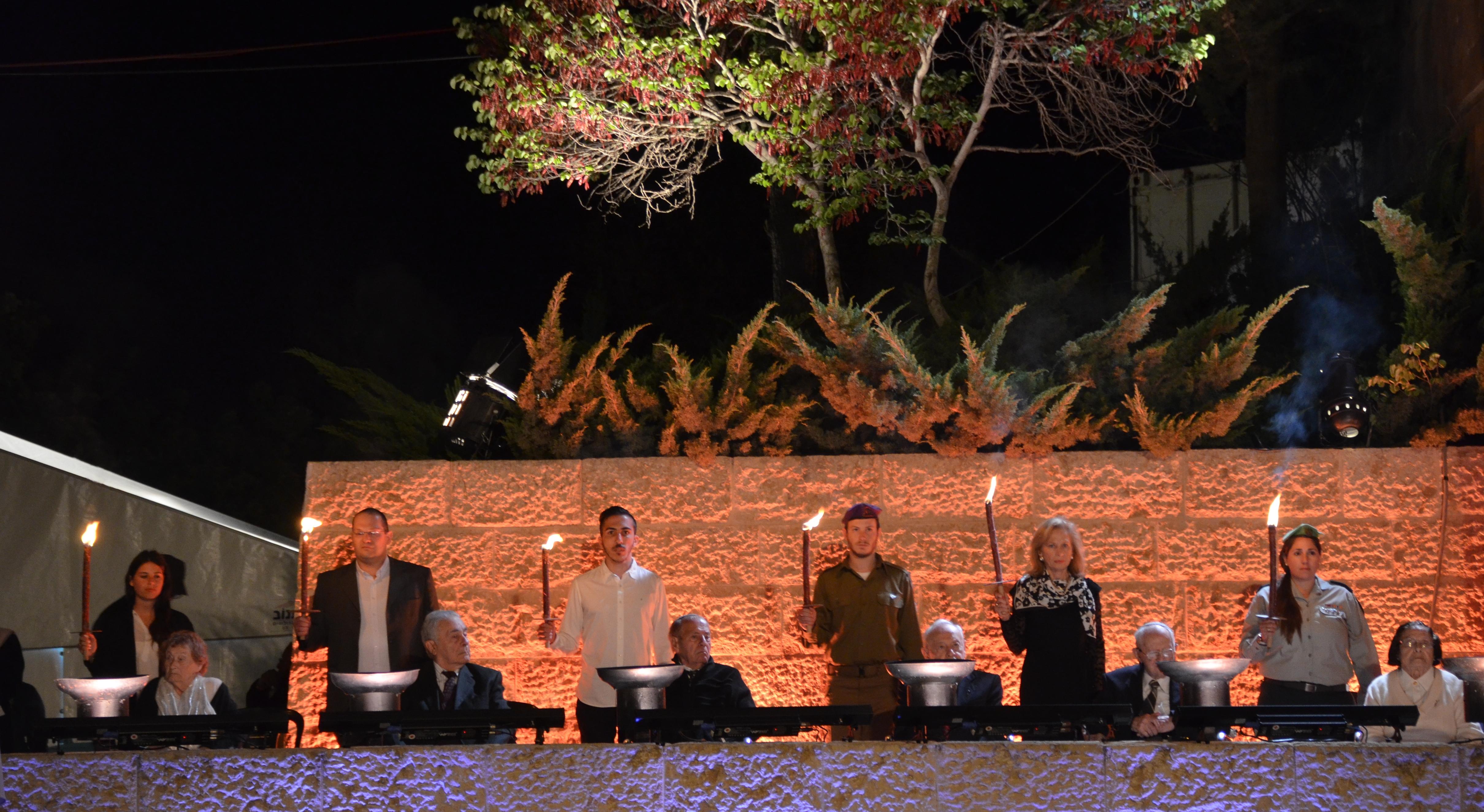 Yom Hashoad at Yad Vashem six torch lighters