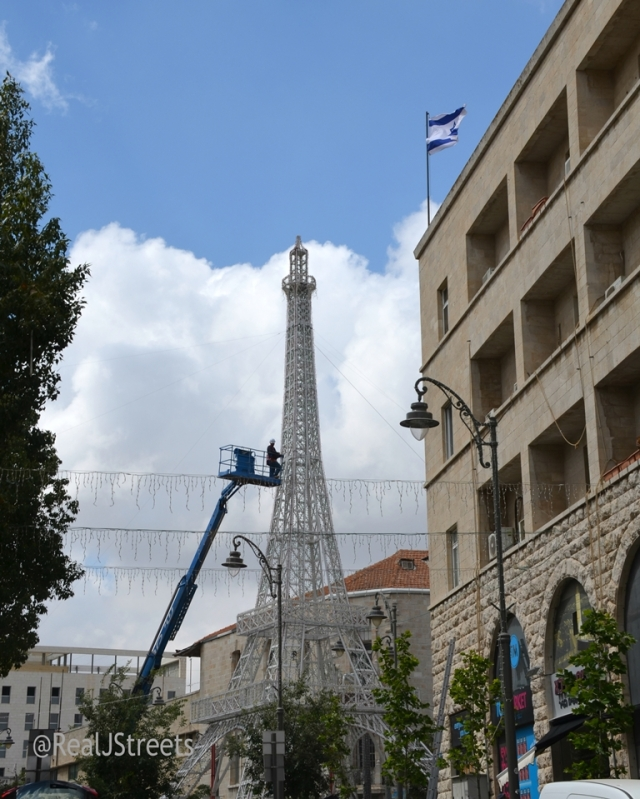Eiffel Tower in Jerusalem for French PM