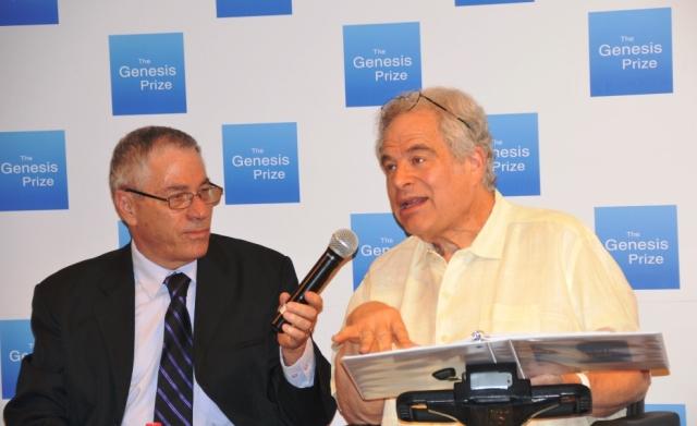 Itzhak Perlman speaking with Uri Dromi before Genesis Priza