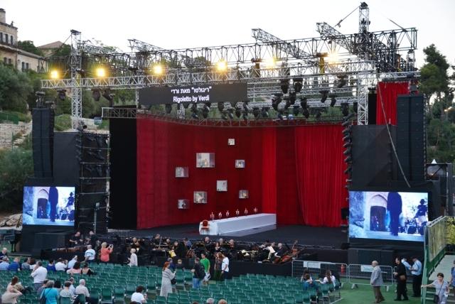 opera stage in Sultan Pool Jerusalem Opera Rigoletto