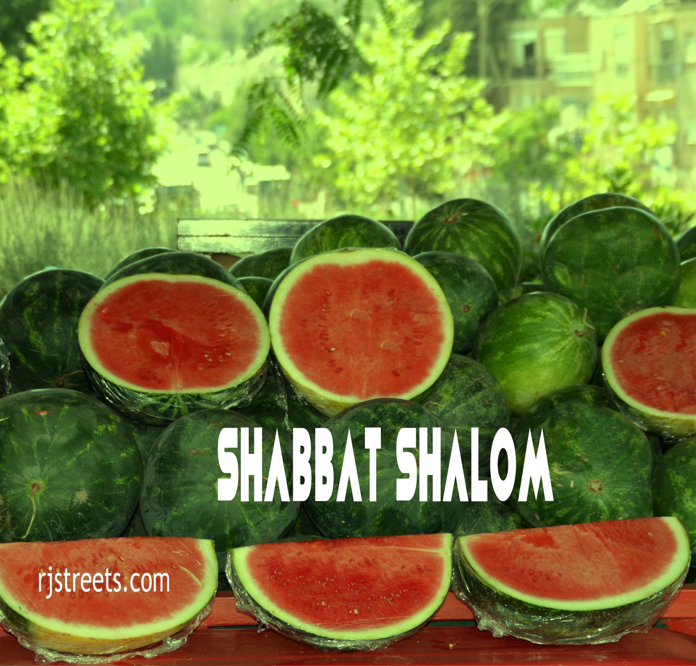 Shabbat shalom watermelon for summer theme poster