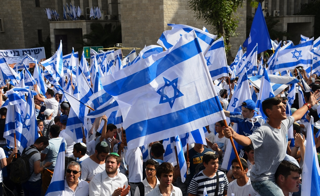 Israeli flags at Flag Dance for Yom Yerushalyim