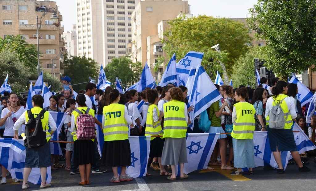 Girls doing crowd control on Jerusalem Day