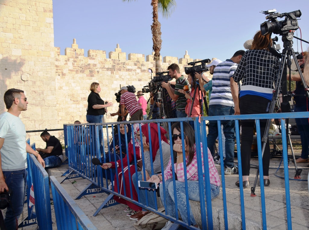 Media at Damascus Gate on Jerusalem Day for Flag Parade