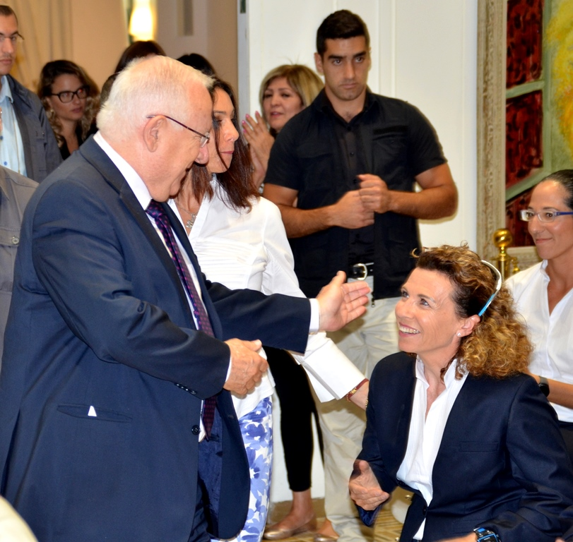 Pascale Bercovitch at Beit Hanasi for official Olympic send off with President Reuven Rivlin
