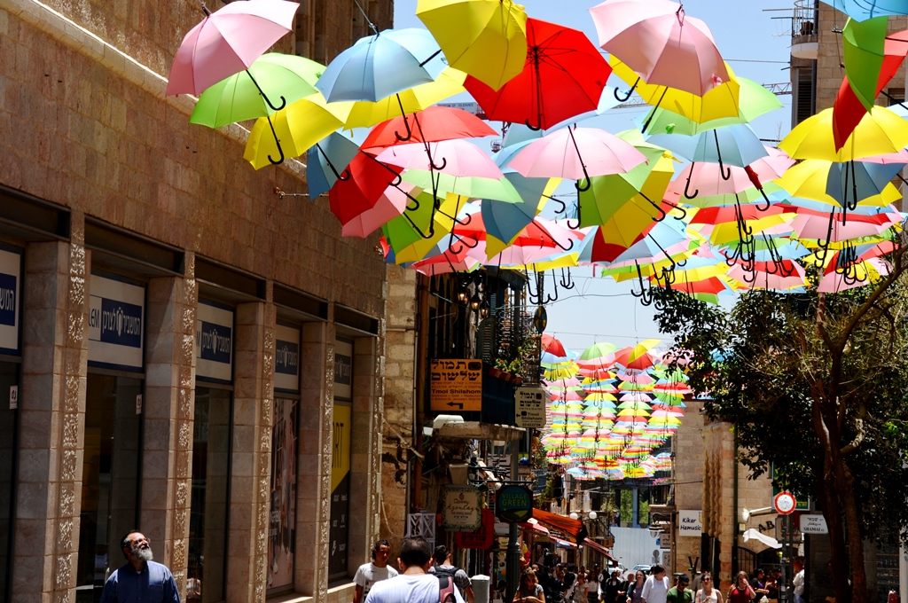 Umbrellas over Jerusalem street