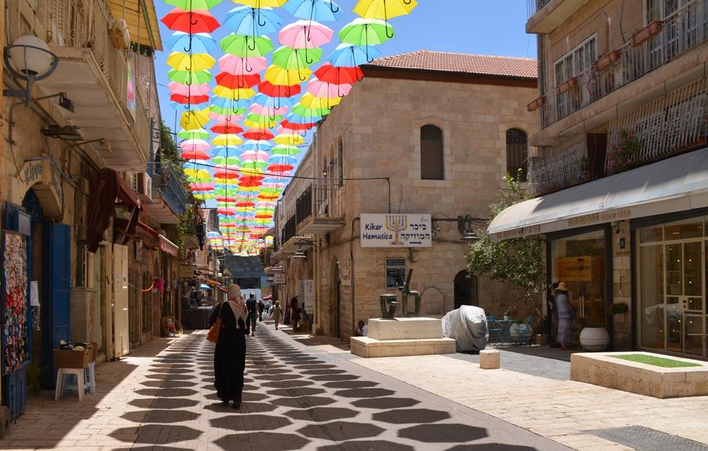 Umbrellas over Yoel Salomon Street
