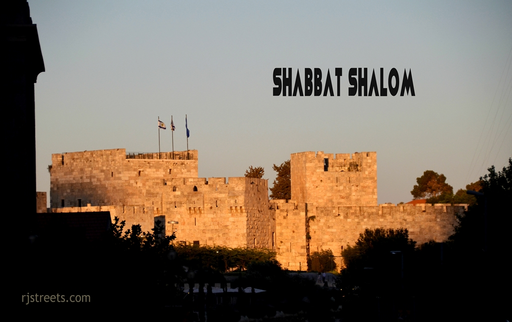 Sunset Shabat shalom poster Old city walls