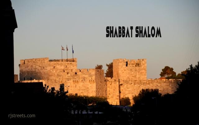 Sunset Shabat shalom poster Old city walls