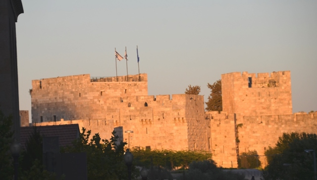 view old city walls at sunset