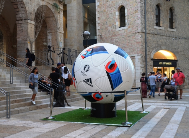 Huge football in Mamilla Mall