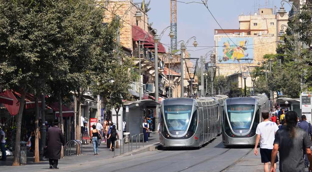 Light rail trains on Jaffa Road Jerusalem
