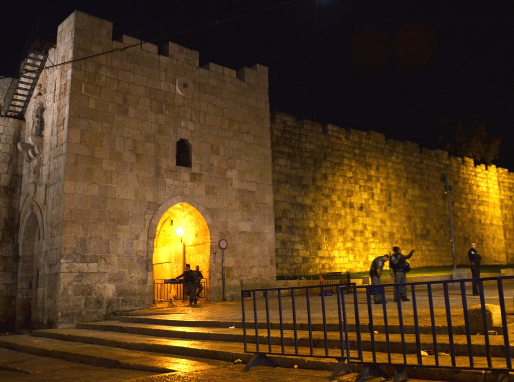 Flowers Gate at night Jerusalem