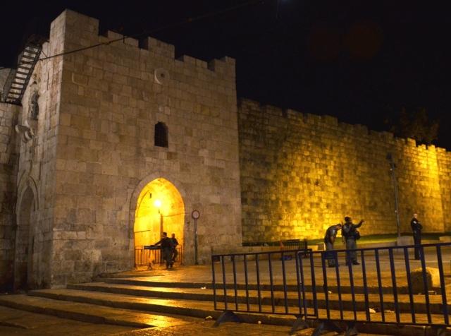 Flowers Gate at night Jerusalem