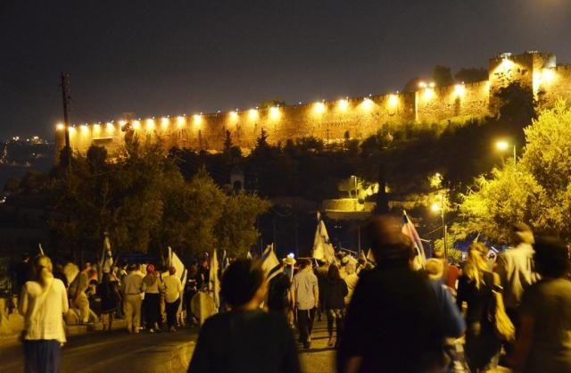 Jerusalem old city walls at night