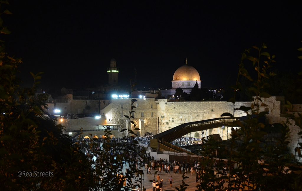 View of Western Wall on Tisha B'av night
