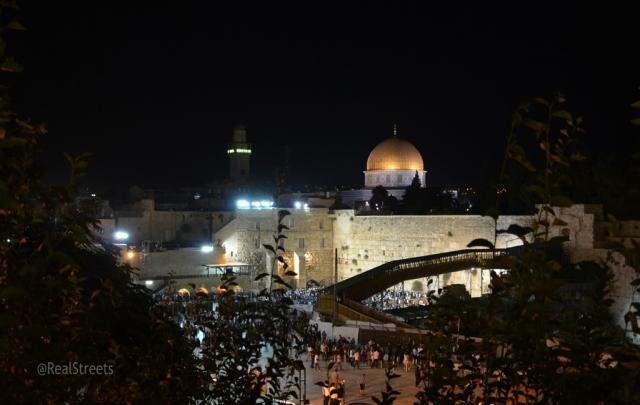 View of Western Wall on Tisha B'av night