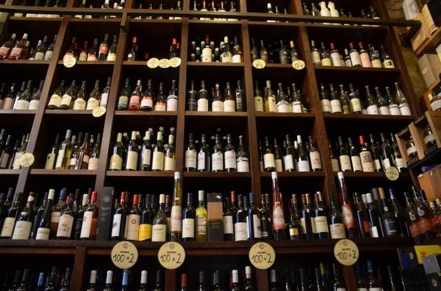 Wall of wine bottles Yayin B shuk