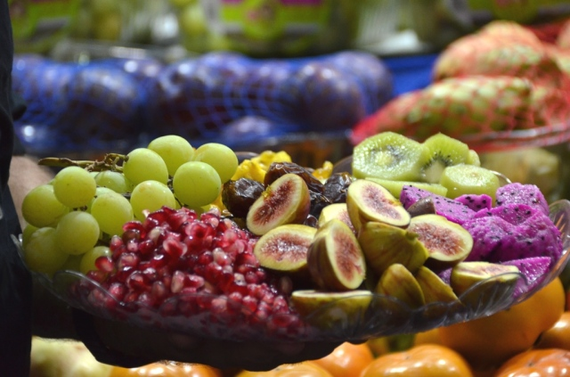 platter of new and unusual fruit for new year.