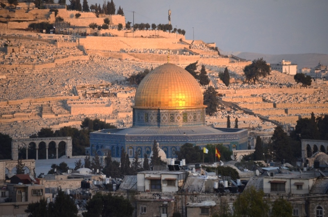 Jerusalem Israel old city view Dome of Rock Har Hazatim