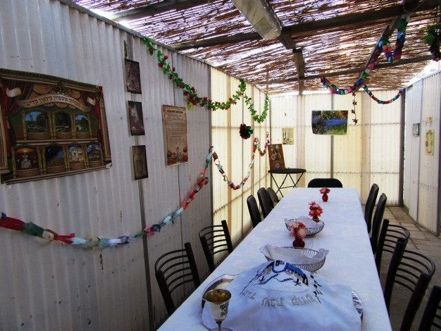 family sukkah in Jerusalem Israel